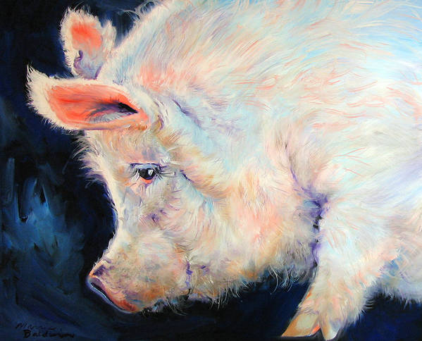 Pig Art Print featuring the painting My Pink Pig For A Lucky Day By M Baldwin by Marcia Baldwin
