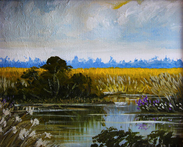 New Jersey Art Print featuring the painting New Jersey Marsh by Karon Melillo DeVega