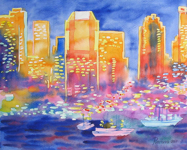 Landscape Art Print featuring the painting New York Great City Silhouettes.2007 by Natalia Piacheva