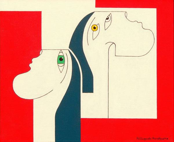People Original Constructivisme Modern Stylisme Art Print featuring the painting Obstinate by Hildegarde Handsaeme