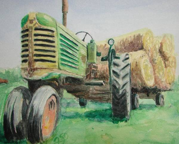 Tractor Paintings Art Print featuring the painting Olivers Still Working by Patsy Kline