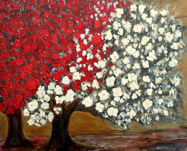 Trees Art Print featuring the painting One Red Tree by Beth Sebring