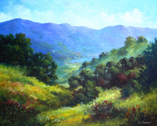 Landscape Art Print featuring the painting Over Looking Clearlake by Gail Salitui