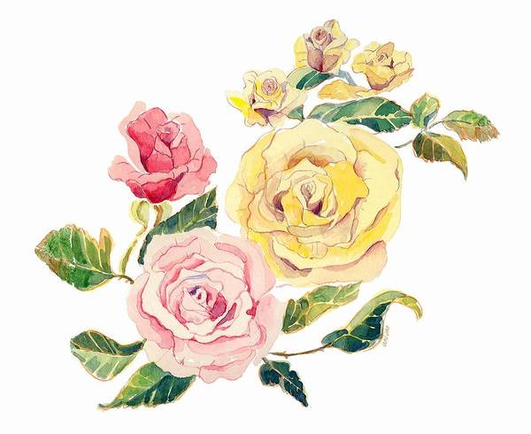 Roses Art Print featuring the painting Pastel Roses by Arline Wagner