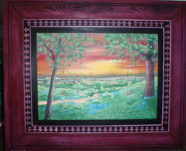 Folk Art Print featuring the painting Path To The Pedernales River With Painted Frame by Susan Michutka