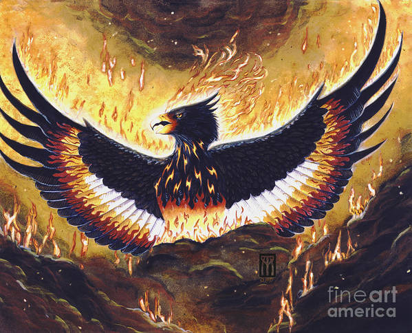 Phoenix Art Print featuring the painting Phoenix Rising by Melissa A Benson