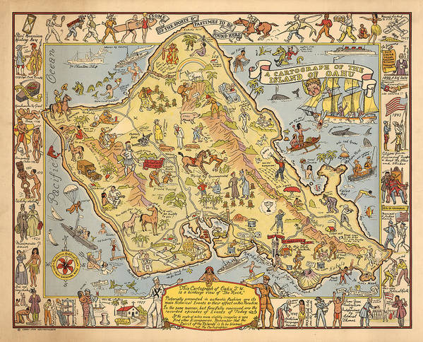 picture regarding Printable Map of Oahu identified as Pictorial Map Of The Island Of Oahu - Illustrated Historic Map - Cartography Artwork Print