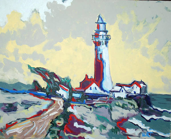 Ligthouse Art Print featuring the painting Pigeon Point by Kurt Hausmann
