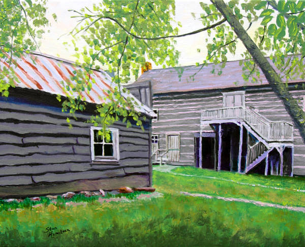 Log Cabin Art Print featuring the painting Pioneer Village One by Stan Hamilton