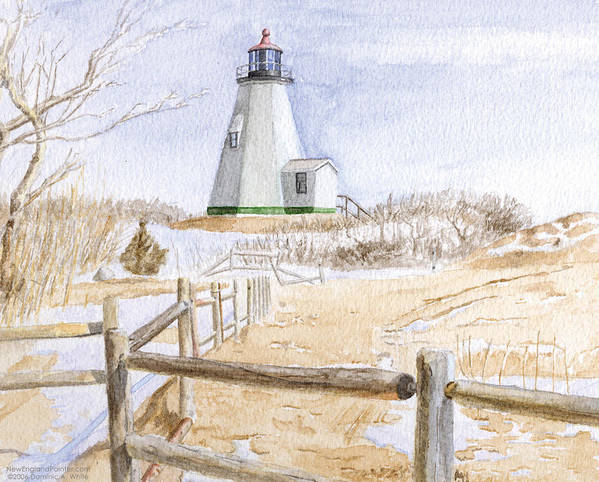 Lighthosue Art Print featuring the painting Plymouth Light In Winter by Dominic White