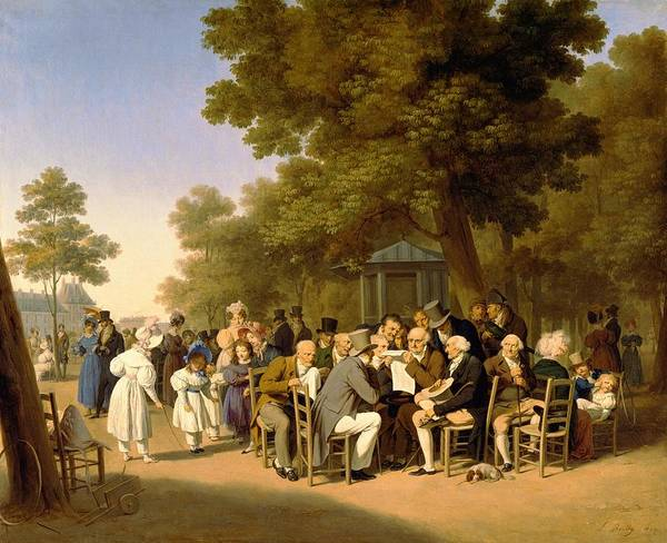 Politicians Art Print featuring the painting Politicians In The Tuileries Gardens by Louis Leopold Boilly