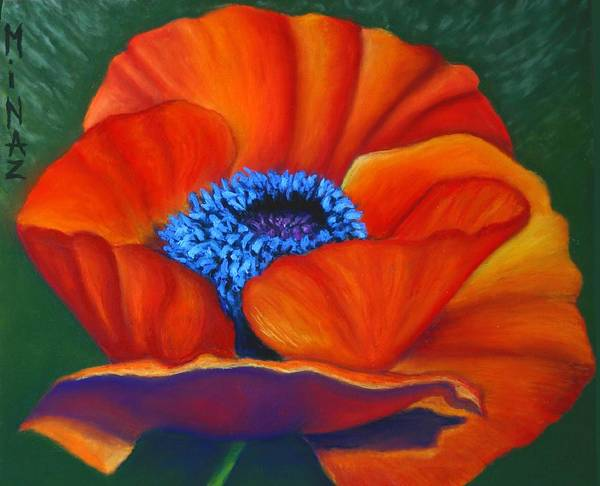 Red Flower Art Print featuring the painting Poppy Pleasure by Minaz Jantz