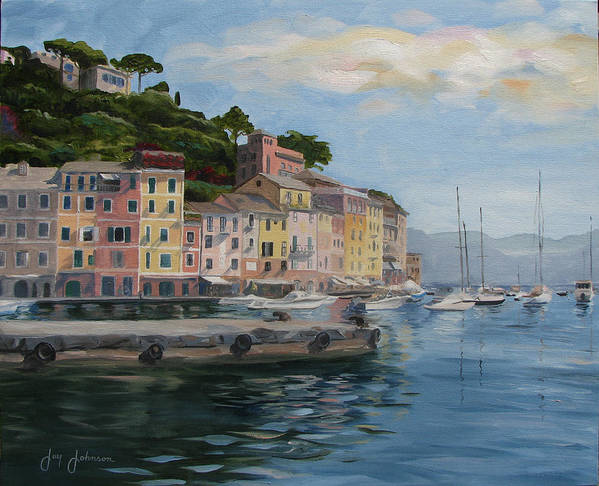 Art Print featuring the painting Portofino Port by Jay Johnson
