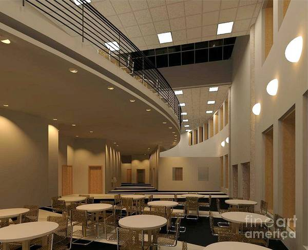 Lobby Rendering Art Print featuring the digital art Proposed Performing Arts Lobby by Ron Bissett