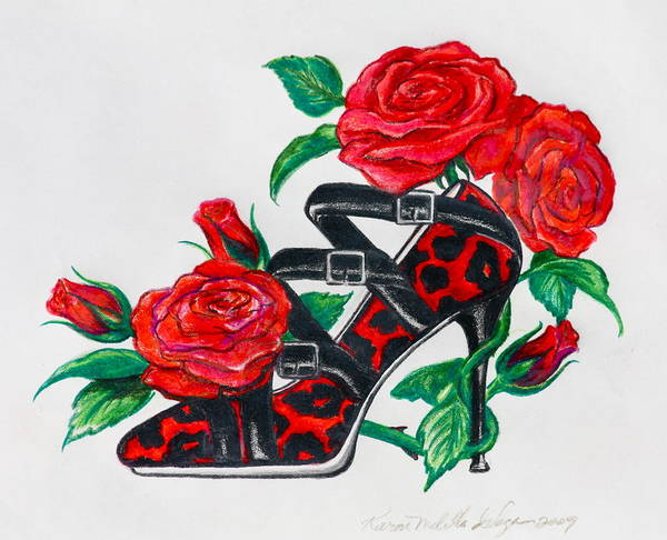 Shoe Art Print featuring the drawing Red Leopard Roses by Karon Melillo DeVega