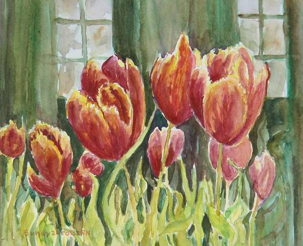Tulips Art Print featuring the painting Red Pink Tulips by Sukey Watson