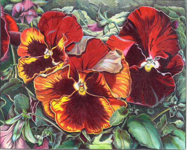 Florals Art Print featuring the painting Ring Of Fire by Joyce Hutchinson