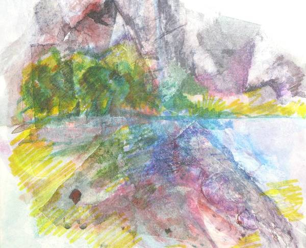 Landscape Art Print featuring the painting River Rocks by Kathy Mitchell
