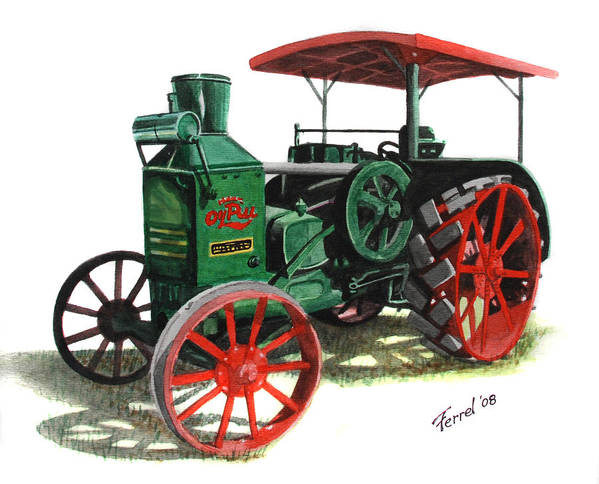 Oil Pull Art Print featuring the painting Rumely Oil Pull X Tractor by Ferrel Cordle