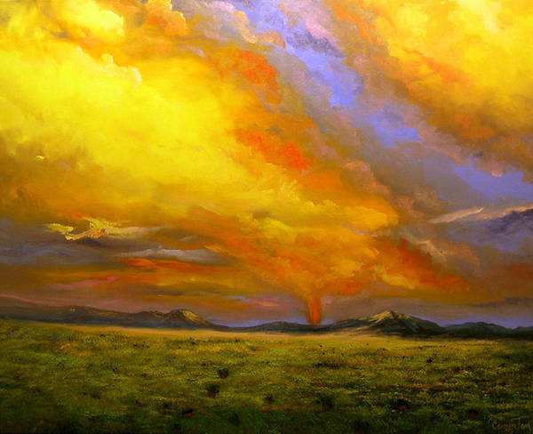 Connie Tom Art Print featuring the painting Sacramento Mountain Sunrise by Connie Tom