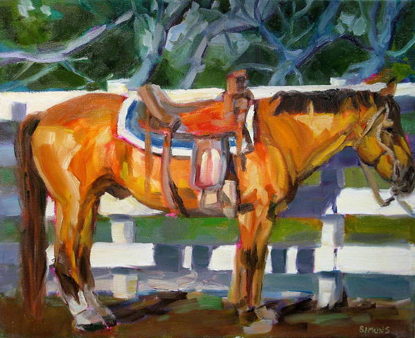 Horse Paintings Art Print featuring the painting Saddled by Brian Simons