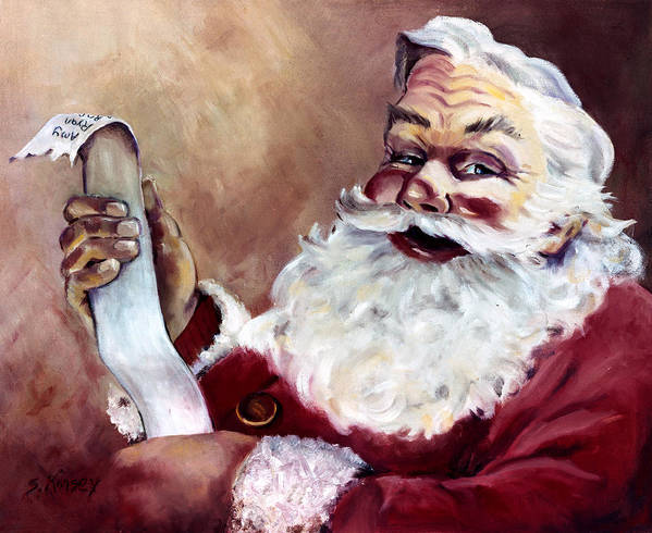 Santa Art Print featuring the painting Santa With A List by Sheila Kinsey