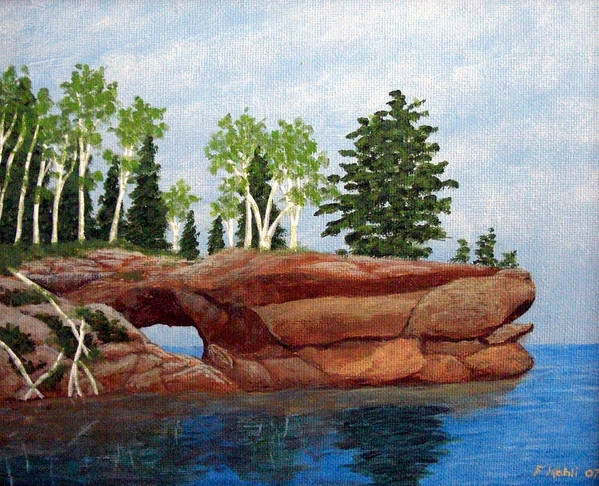 Landscape Paintings Art Print featuring the painting Sea Cave by Frederic Kohli