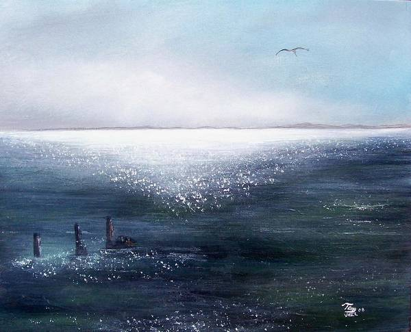 Seascape Art Print featuring the painting Sea Of Glass by Tony Rodriguez