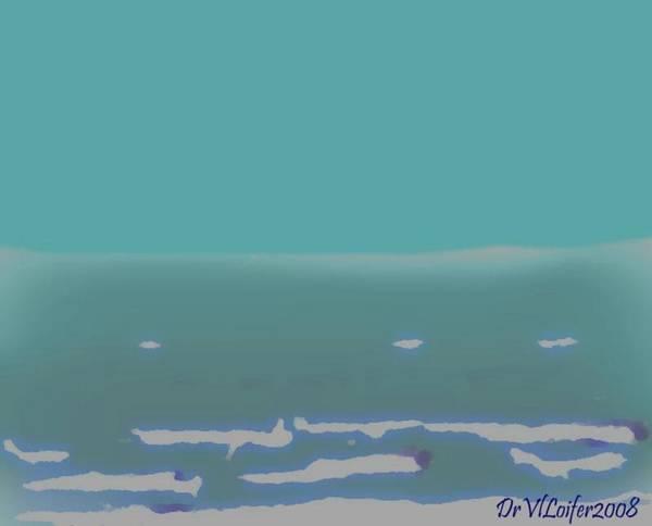 Night.no Moon.sky.sea.waves.coast. Sea Surf .foam Waves. Art Print featuring the digital art Sea.night.no Moon. by Dr Loifer Vladimir
