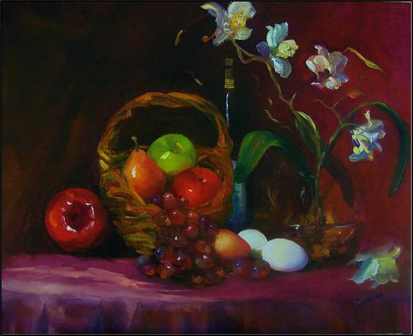 Fruit Basket Art Print featuring the painting Simple Gifts by Maryanne Jacobsen