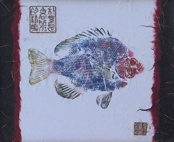 Gyotaku Art Print featuring the mixed media Simpliciity Is The Heart Of Elegance by Michele Caporaso