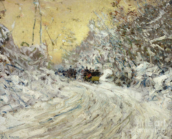 Sleigh Ride In Central Park (oil On Canvas) By Childe Hassam (1859-1935) New York City; Nyc; Manhattan; Winter; Snow; Snowy; American Impressionist; The Ten Group; Central Art Print featuring the painting Sleigh Ride In Central Park by Childe Hassam