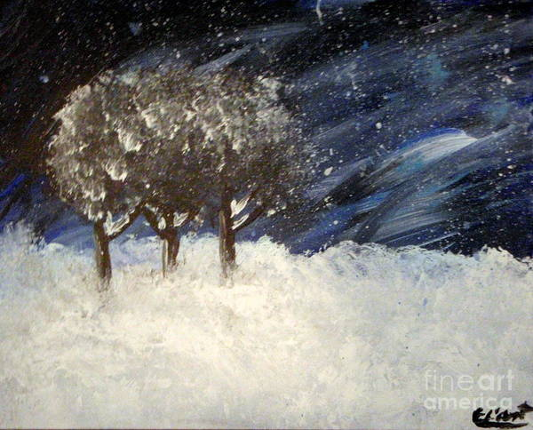 Snow Art Print featuring the painting Snowstorm by Elizabeth Arthur