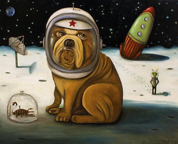 Rocket Art Print featuring the painting Space Crash by Leah Saulnier The Painting Maniac