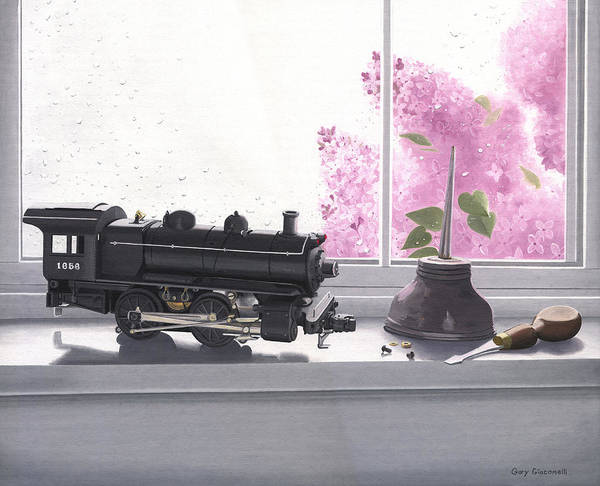 Lionel Art Print featuring the painting Spring Rain Electric Train by Gary Giacomelli