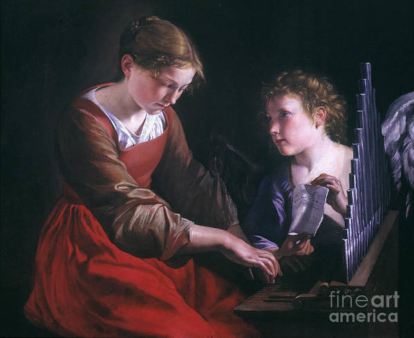 1610 Art Print featuring the painting St. Cecilia And An Angel by Granger