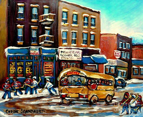 St. Viateur Bagel With Hockey Bus Art Print featuring the painting St. Viateur Bagel With Hockey Bus by Carole Spandau