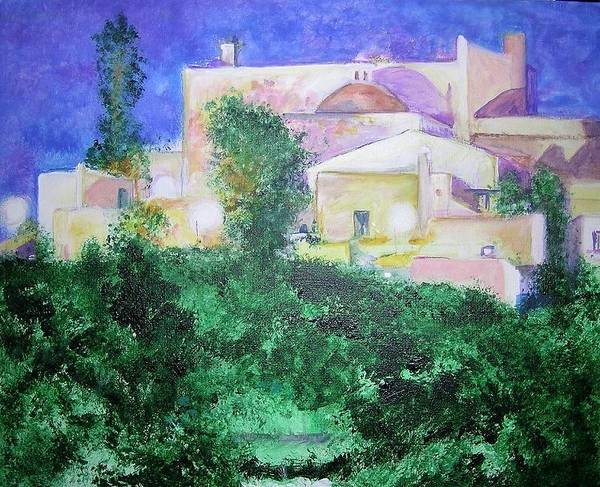 Landscape Art Print featuring the painting Staeulalia Church - Lit Up At Night by Lizzy Forrester