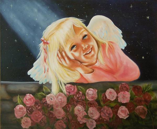 Angel Art Print featuring the painting Starlight Angel by Joni McPherson