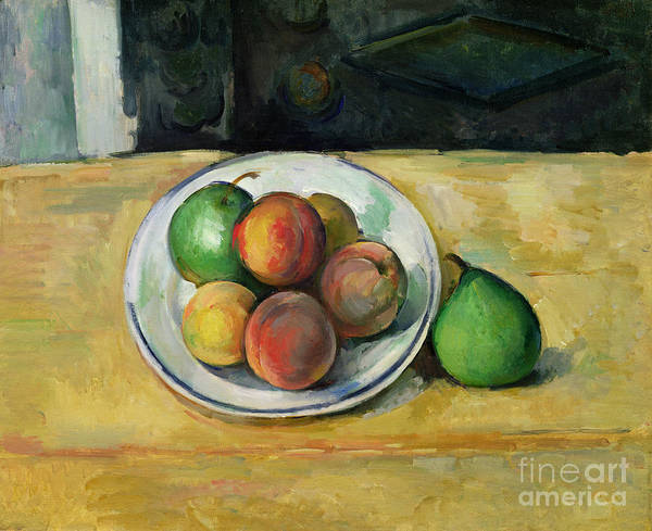 Still Art Print featuring the painting Still Life With A Peach And Two Green Pears by Paul Cezanne