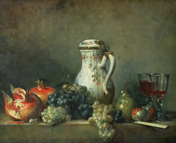 Still Life With Grapes And Pomegranates Print featuring the painting Still Life With Grapes And Pomegranates by Jean-Baptiste Simeon Chardin