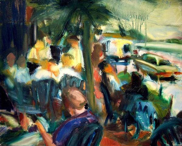 Dornberg Art Print featuring the painting Streetside Cafe by Bob Dornberg