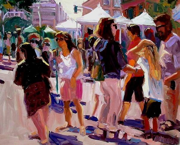 Landscape Paintings Art Print featuring the painting Sunday Market by Brian Simons