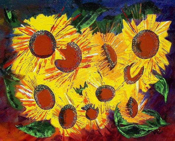 Sunflowers Art Print featuring the painting Sunflowers II by Valerie Wolf