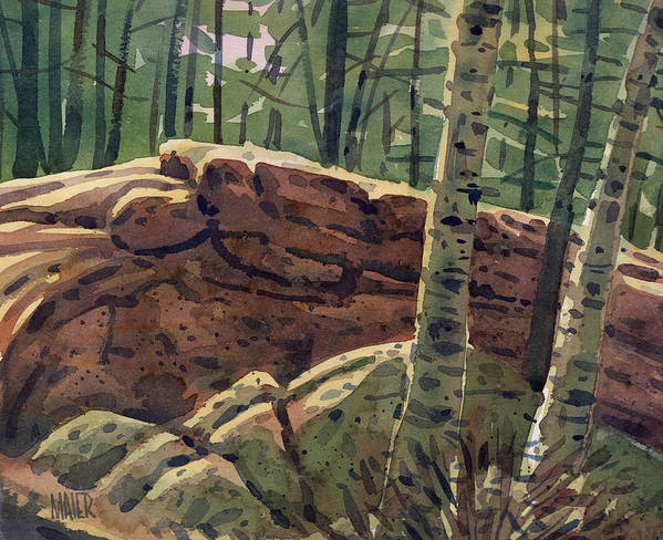 White Birch Art Print featuring the painting Sunlit Rocks by Donald Maier