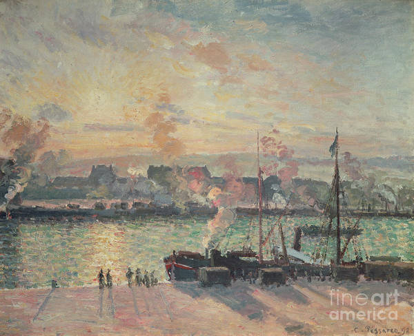 Sunset Art Print featuring the painting Sunset At Rouen by Camille Pissarro
