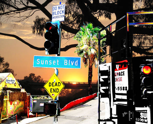 A Sunset With Combination With Sunset Blvd Art Print featuring the digital art Sunset Blvd Meets Sunset by Maria Kobalyan