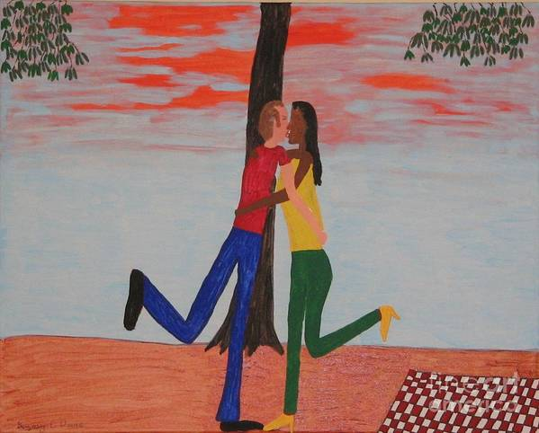 Friends Art Print featuring the painting Sunset Kiss by Gregory Davis