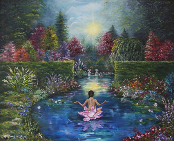Lotus Art Print featuring the painting Surrender by Sundara Fawn