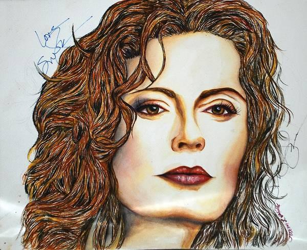 Actress Art Print featuring the mixed media Susan Sarandon by Joseph Lawrence Vasile